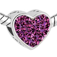 Charms Beads - PUGSTER?  MOM AMETHYST PURPLE CRYSTAL HEART FOR BEADS CHARMS BRACELETS FIT ALL BRANDS alternate image 1.