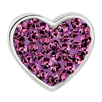 Charms Beads - PUGSTER?  MOM AMETHYST PURPLE CRYSTAL HEART FOR BEADS CHARMS BRACELETS FIT ALL BRANDS alternate image 2.