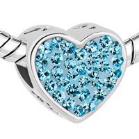 Charms Beads - PUGSTER?  MOM AQUAMARINE BLUE CRYSTAL HEART FOR BEADS CHARMS BRACELETS FIT ALL BRANDS alternate image 1.