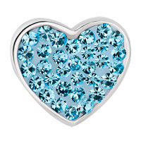 Charms Beads - PUGSTER?  MOM AQUAMARINE BLUE CRYSTAL HEART FOR BEADS CHARMS BRACELETS FIT ALL BRANDS alternate image 2.