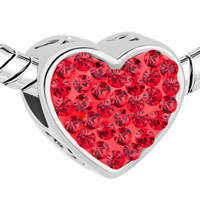Charms Beads - MOM LIGHT RED CRYSTAL HEART RHINESTONE BEADS CHARMS BRACELETS FIT ALL BRANDS alternate image 1.