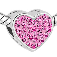 Charms Beads - MOM ROSE PINK CRYSTAL HEART RHINESTONE BEADS CHARMS BRACELETS FIT ALL BRANDS alternate image 1.