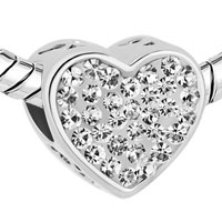 Charms Beads - MOM CLEAR WHITE CRYSTAL HEART I LOVE YOU RHINESTONE BEADS CHARMS BRACELETS FIT ALL BRANDS alternate image 1.