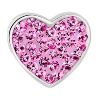 Charms Beads - ROSE PINK CRYSTAL HEART I LOVE YOU RHINESTONE FOR BEADS CHARMS BRACELETS FIT ALL BRANDS alternate image 2.