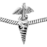 Charms Beads - SILVER REGISTERED NURSE CADUCEUS RN EUROPEAN BEAD CHARMS BRACELETS alternate image 1.
