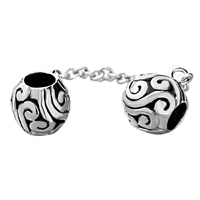 Charms Beads - SILVER PLATED DOUBLE EUROPEAN BEAD LINK CHARMS FOR BRACELETS DANGLE alternate image 2.