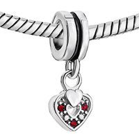 Charms Beads - SILVER RED SWAROVSKI ELEMENT HEART CHARM BRACELET SPACER DANGLE alternate image 1.