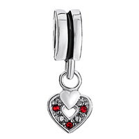 Charms Beads - SILVER RED SWAROVSKI ELEMENT HEART CHARM BRACELET SPACER DANGLE alternate image 2.