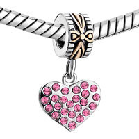 Charms Beads - 22K GOLD ROSE PINK CRYSTAL DIAMOND CHARM ACCENT HEART LOVE DANGLE alternate image 1.