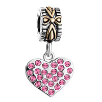 Charms Beads - 22K GOLD ROSE PINK CRYSTAL DIAMOND CHARM ACCENT HEART LOVE DANGLE alternate image 2.