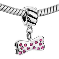 Charms Beads - PINK CRYSTAL EMBEDED BONE DANGLE EUROPEAN BEAD CHARMS BRACELETSED alternate image 1.