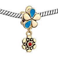 Charms Beads - SILVER GOLDEN FLOWER CHARMS BRACELETS DANGLE RED BLUE CRYSTAL GIFT alternate image 1.