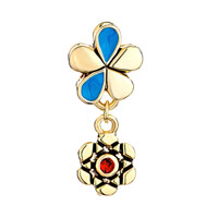 Charms Beads - SILVER GOLDEN FLOWER CHARMS BRACELETS DANGLE RED BLUE CRYSTAL GIFT alternate image 2.