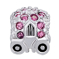 Charms Beads - JACKOLANTERN HALLOWEEN PUMPKIN CAR WITH PINK OCTOBER BIRTHS CRYSTAL alternate image 2.