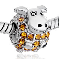 Charms Beads - BIRTHSTONE CHARMS CUTE YELLOW CRYSTAL CALF BEADS alternate image 1.
