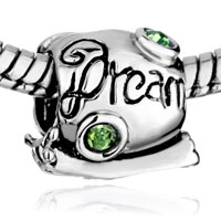 Charms Beads - CUTE SNAIL DREAM GREEN CRYSTAL AUGUST BIRTHSTONE EUROPEAN BEAD alternate image 1.