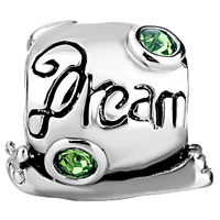 Charms Beads - CUTE SNAIL DREAM GREEN CRYSTAL AUGUST BIRTHSTONE EUROPEAN BEAD alternate image 2.
