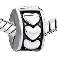 European Beads - SILVER HEART CIRCLE CLIP LOCK STOPPER BEADS CHARMS BRACELETS alternate image 2.