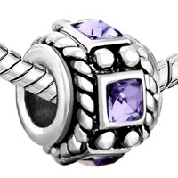 Charms Beads - VINTAGE SILVER PURPLE CRYSTAL AMETHYST BEADS CHARMS BRACELETS FIT ALL BRANDS alternate image 1.