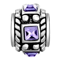 European Beads - AMETHYST PURPLE CRYSTAL DIAMOND ACCENT WHEEL SPACER SILVER PLATED BEADS CHARMS BRACELETS alternate image 2.