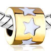 Charms Beads - SILVER PLATED GOLDEN WHITE DRIP STAR EUROPEAN BEAD CHARMS BRACELETS alternate image 1.