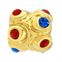 Charms Beads - RED BLUE SWAROVSKI CRYSTAL GOLDEN EUROPEAN BEAD CHARMS BRACELETS alternate image 2.