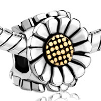 Charms Beads - GOLDEN SUNFLOWER FLORAL TWO TONE PLATED BEADS CHARMS BRACELETS FIT ALL BRANDS alternate image 1.