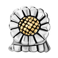 Charms Beads - GOLDEN SUNFLOWER FLORAL TWO TONE PLATED BEADS CHARMS BRACELETS FIT ALL BRANDS alternate image 2.