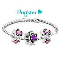 Charms Beads - SILVER PLATED FLORAL EUROPEAN BEAD CHARM CHARM BRACELETS PALE PINK alternate image 3.