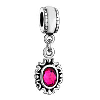Charms Beads - PINK CRYSTAL OCTOBER BIRTHSONE OVAL DANGLE BEADS CHARMS BRACELETSED alternate image 1.