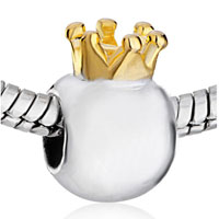 Charms Beads - SILVER PLATED LITTLE CUTE CROWN EUROPEAN BEAD CHARMS BRACELETS alternate image 1.