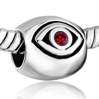 Charms Beads - SILVER JULY BIRTHSTONE RED SWAROVSKI CRYSTAL EVIL EYE CHARM BRACELET alternate image 1.