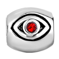 Charms Beads - SILVER JULY BIRTHSTONE RED SWAROVSKI CRYSTAL EVIL EYE CHARM BRACELET alternate image 2.