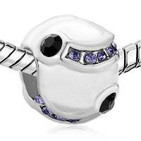 Charms Beads - FEBRUARY BIRTHSTONE PURPLE SWAROVSKI CRYSTAL BEADS CHARMS BRACELETS alternate image 1.