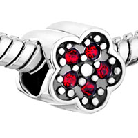 Sterling Silver Jewelry - BIRTHSTONE CHARMS CUTE RED CRYSTAL PLUM FLOWER 925 STERLING SILVER GIFT JEWELRY BEADS FIT CHARM BRACELET alternate image 1.