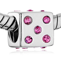 Sterling Silver Jewelry - PINK CRYSTAL CZ SIEVE STERLING SILVER FIT BEADS CHARMS BRACELETS ALL BRANDS alternate image 1.