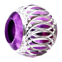 Charms Beads - PURPLE PATTERN LANTERN ALUMINUM EUROPEAN BEAD CHARMS BRACELETS alternate image 1.