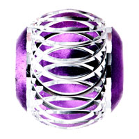 Charms Beads - PURPLE PATTERN LANTERN ALUMINUM EUROPEAN BEAD CHARMS BRACELETS alternate image 2.