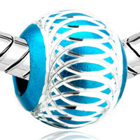 Charms Beads - PALE BLUE PATTERN LANTERN ALUMINUM EUROPEAN BEAD CHARMS BRACELETS alternate image 1.