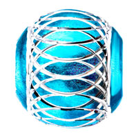 Charms Beads - PALE BLUE PATTERN LANTERN ALUMINUM EUROPEAN BEAD CHARMS BRACELETS alternate image 2.