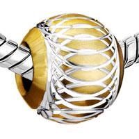 Charms Beads - PALE YELLOW PATTERN LANTERN ALUMINUM EUROPEAN BEAD CHARMS BRACELETS alternate image 1.