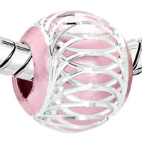 New Year Deals - LIGHT PINK WHITE STRIPES ALUMINUM BEAD CHARM BRACELET CHARM BRACELET alternate image 1.