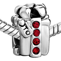 Charms Beads - SILVER PLATED RED CRYSTAL S BOX EUROPEAN BEAD CHARMS BRACELETS alternate image 1.