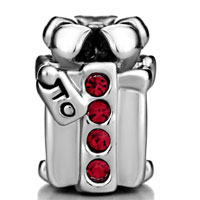 Charms Beads - SILVER PLATED RED CRYSTAL S BOX EUROPEAN BEAD CHARMS BRACELETS alternate image 2.