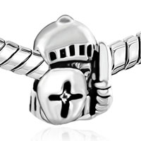 Charms Beads - SILVER PLATED JEWELRY KNIGHT SHIELD EUROPEAN BEAD CHARMS BRACELETS alternate image 1.