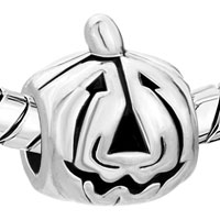 European Beads - HALLOWEEN PUMPKIN FACE SILVER PLATED BEADS CHARMS BRACELETS alternate image 1.