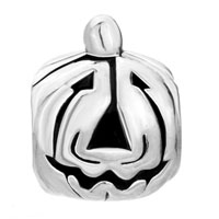 European Beads - HALLOWEEN PUMPKIN FACE SILVER PLATED BEADS CHARMS BRACELETS alternate image 2.