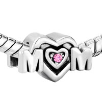 European Beads - PINK SWAROVSKI CRYSTAL MOM HEART FIT ALL BRANDS &  GIFT FOR MOTHER SILVER PLATED BEADS CHARMS BRACELETS alternate image 2.