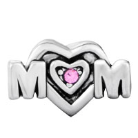 European Beads - PINK SWAROVSKI CRYSTAL MOM HEART FIT ALL BRANDS &  GIFT FOR MOTHER SILVER PLATED BEADS CHARMS BRACELETS alternate image 1.