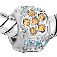 Charms Beads - SILVER JEWELRY NOVEMBER BIRTHSTONE FLOWER CHARMS BRACELETSS PATTERN alternate image 1.